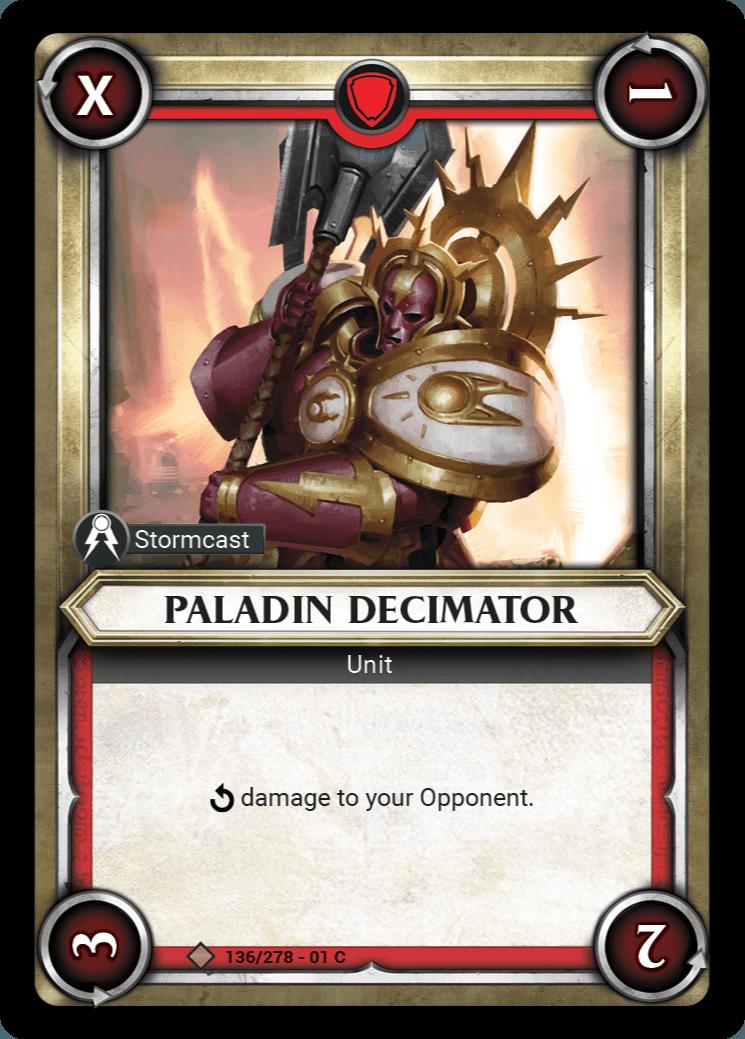 Paladin Decimator Single Card - Warhammer Champions | Covenant