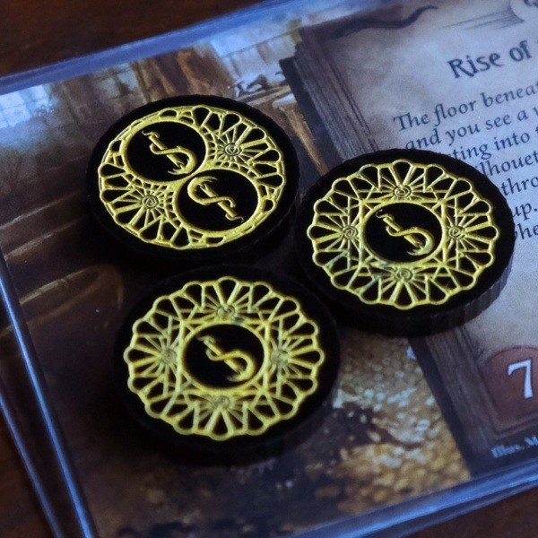 Group of Three Path to Carcosa themed Doom Token, Arkham Horror Card Game Token Upgrade